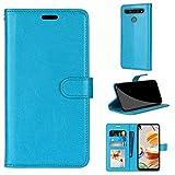 SATURCASE LG K61 Hülle, Glatt PU Lederhülle Magnetverschluss Brieftasche Kartenfächer Standfunktion Handy Tasche Schutzhülle Handyhülle Hülle für LG K61 (Blau)