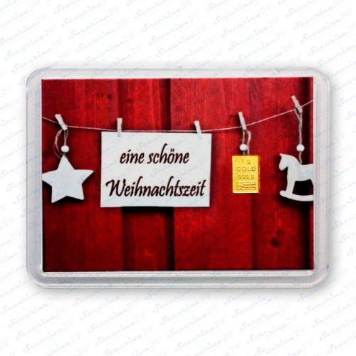 Goldbarren 1g 1 Gramm Motivbox Geschenk Weihnachten Gold Barren + 1x Echtheitszertifikat von Securina24® (Schöne Weihnachtszeit)