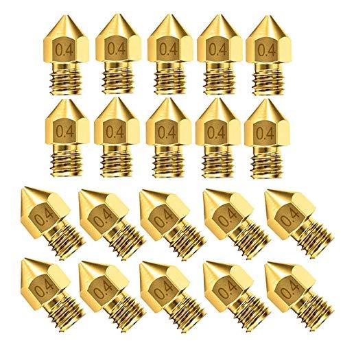 MHUI 20 Pieces 3D Printer Nozzles MK8 Nozzle Print Head 0.4mm Extruder M6 thread 1.75mm discharge for 3D Printer