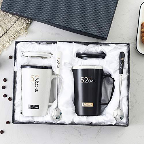 ZSLD Porcelana Tazas De Café por Pareja Conjunto De 2, con Tapa Y Dos Cucharas Se Puede Utilizar Regalos De Compromiso, L