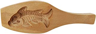 Traditional Wooden Moon Cake Mold, Gold Fish Shape For Biscuits, Muffins, Mid-Autumn Festival, 9 Inch