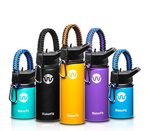 WaterFit Vacuum Insulated Water Bottle - Double Wall Stainless Steel Leak Proof BPA Free Sports Wide Mouth Water Bottle - Travel Straw Lid - 12oz 16oz 20oz and Paracord