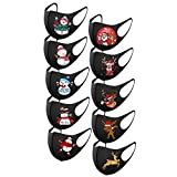 Christmas Printed Face_Mask for Women and Men, Black Washable Facemask Coverings, Reusable Adjustable Ear Hook, for Outdoor Indoor Sports Party Holiday