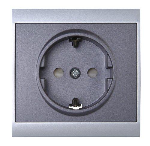Kopp 923450087 Malta Schutzkontakt-Steckdose mit erhöhtem Berührungsschutz, silber-anthrazit