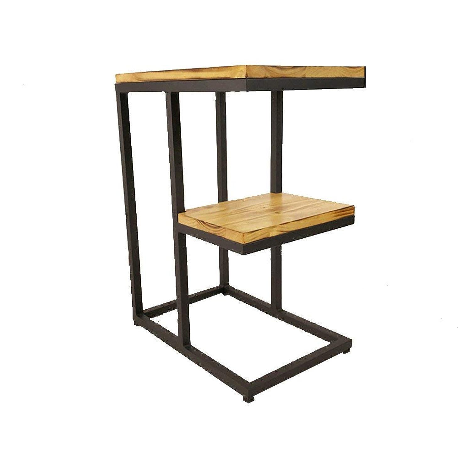 必需品レインコート影のあるコーヒーテーブルソファサイドテーブルベッドサイドテーブルライティングデスクドレッシングテーブルダイニングテーブルソリッドウッド+錬鉄素材45 * 30 * 60センチコーヒーテーブル