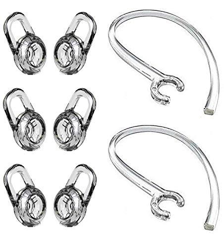 BLLQ Ersatz-Ohrpolster und Ohrschlaufen-Clip-Set für Plantronics Explorer 500 M180 M155 M165 M70 M90 Headset, Gel-Ohrpolster, 6 Stück und Ohrbügel, transparent, 2 Stück