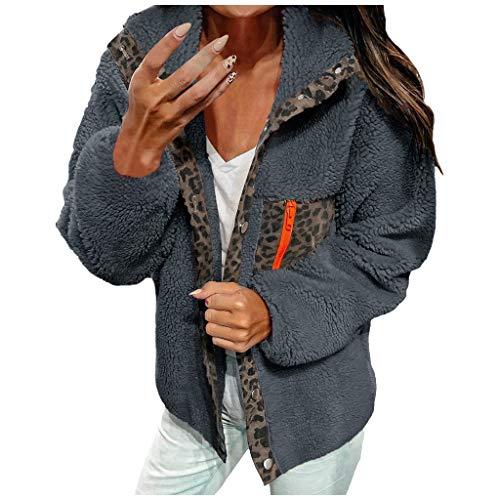 KPPONG Pullover Damen Leopardenmuster Patchwork Teddy-Fleece Mantel Plüsch Pulli Schöne Sweatshirt Warm Winterpullover