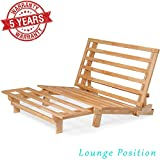 Nirvana Futons Queen Size Tri-Fold Wood Futon Sofa Bed Lounger Frame - (Space Saver, Natural Finish) Ideal for Small Spaces, RVs, and Dorm Furniture
