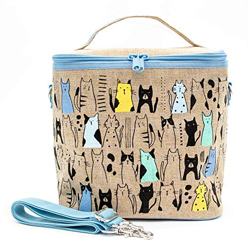 SoYoung Large Cooler Bag - Raw Linen, Eco-Friendly, Retro-Inspired, Leakproof, Easy to Clean (Curious Cats)