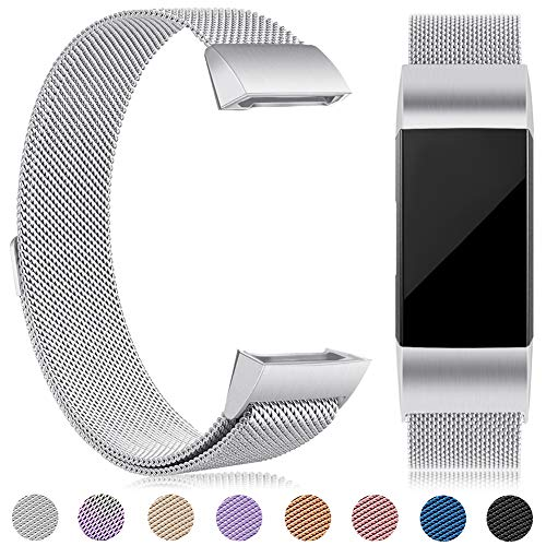 eDriveTech Kompatibel Für Fitbit Charge 3 Armband, Ersatz Fitness Armband und Sportarmband - Metal Wristband Armband für Fitbit Charge 3 Special Edition Damen Herren