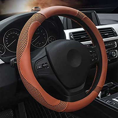 Brown Microfiber Leather Car Steering Wheel Cover, Universal 14.5~15inch Luxury Steering Wheel Cover for Women and Men, Viscose, Breathable, Anti-Slip,Warm in Winter and Cool in Summer