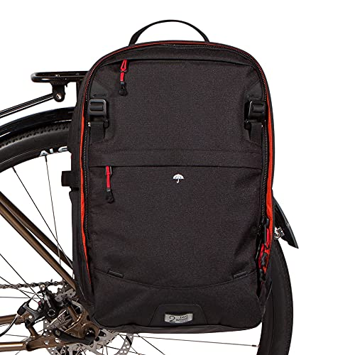 Two Wheel Gear - Pannier Backpack Convertible LITE (22 Litre) - 2 in 1 Commuting and Bicycle Touring Bag - Kompakt Rail Mounting System (Black)