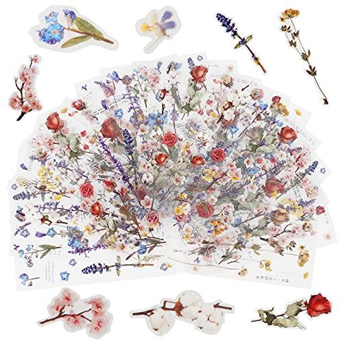 Iyowei 18Hojas/400Pcs Pegatinas Flores Pegatinas Scrapbooking Stickers Bullet Journal, Pegatinas de Flores Manualidades para Álbumes de Recortes, Calendario, Libro, Tarjetas Regalos (6 tipos)