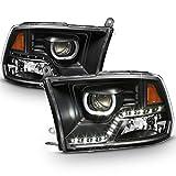 ACANII - For Black 2009-2018 Dodge Ram 1500 2500 3500 DRL LED Projector Halo Headlights Lamps Driver + Passenger Side