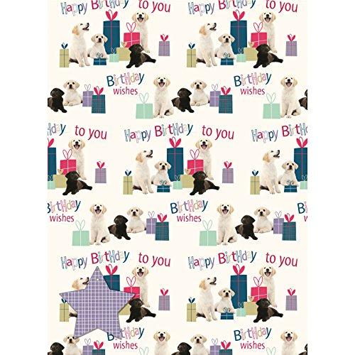 Labrador Pups - Birthday Wishes - Geschenkpapier mit Anhänger