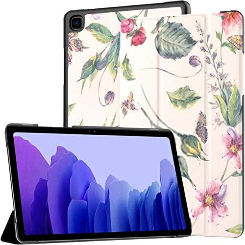Funda para Samsung Galaxy Tab A7 Tablet 2020 de 10,4 Pulgadas (sm-t500 / t505 / t507), Acuarela Vintage Floral Fondo Transparente Funda Rosa con Soporte de múltiples ángulos con activación/suspensi
