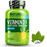 NATURELO Vitamin D - 2500 IU - From Organic Lichen - Best Natural D3 Supplement for Immune System, Bone Support, Joint Health - Whole Food - Vegan - Non-GMO - Gluten Free - High Potency - 180 Capsules