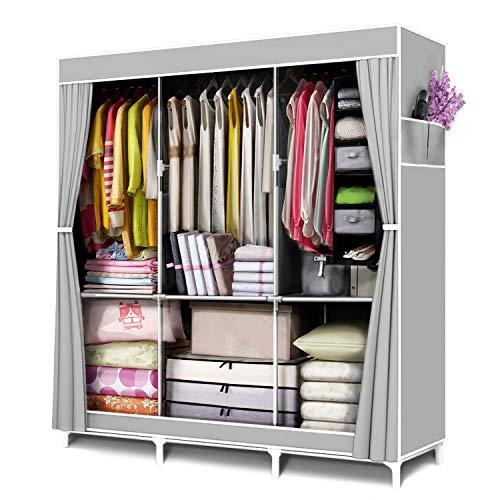 ldab Portable Wardrobe Storage Closet, Clothes Closet Organizer for Bedroom with Storage Shelves, Hanging Rack & Side...