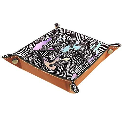 XiangHeFu Ledertablett,Schmucktablett Dekoplatte,Schwarzes Zebra-Tiermuster,Leder Tablett,Aufbewahrungstablett für...