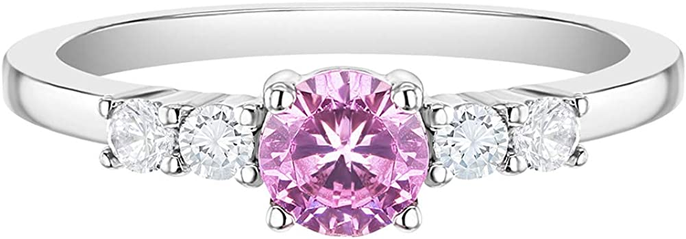 925 Sterling Silver Size 2-5 70% OFF Outlet Shiny Cubic At the price of surprise Round Pink Clear Zirc