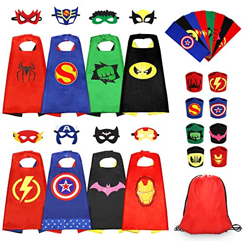 Jojoin 8 PCS Superhero Capes for Kids, 8 Superheroes Wristbands Slap Bands, 8 Hero Masks and 1 Storage Bag, Role Play Costume Dress up Toys Gift Kids for Halloween Birthday Party Christmas