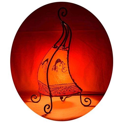 Orientalische Lampe Stehlampe marokkanische Hennalampe Lederlampe Tischleuchte Stehleuchte Orient Coq Gecko 40 cm Color Orange