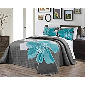 2-Piece Fine Printed Oversize (66″ X 95″) Quilt Set Reversible Bedspread Coverlet Twin/Twin XL Size Bed Cover (Aqua Blue, Grey, White Hibiscus Floral)
