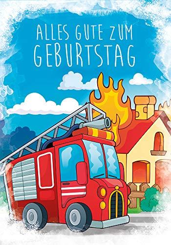 Soundkarten - Musikkarten - Geburtstagskarte - Geburtstag Karte - Kinder Geburtstagskarten - 17,0 x 11,5 cm - inkl. Umschlag - Motiv: Feuerwehr