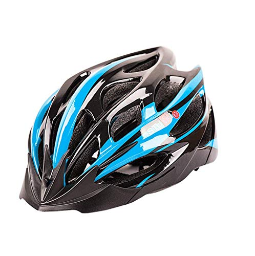 Casco de Bicicleta para Adultos Casco Bici Unisex Ajustable para Ciclismo de Montaña y Carretera Casco Bicicleta con Protección Seguridad para Hombres y Mujeres (Azul & Negro, Talla única)