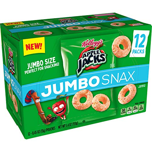 Kellogg's Apple Jacks Jumbo Snax, Cereal Snacks, On the Go, 6oz Resealable Bag(Pack of 4)