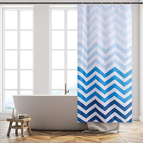Furlinic Schmaler Duschvorhang für Eck Dusche & Kleine Badewanne Badvorhang aus Stoff Schimmelresistent Wasserdicht Waschbar Chevron Weiß Blau 80x180 mit 6 Duschringen.