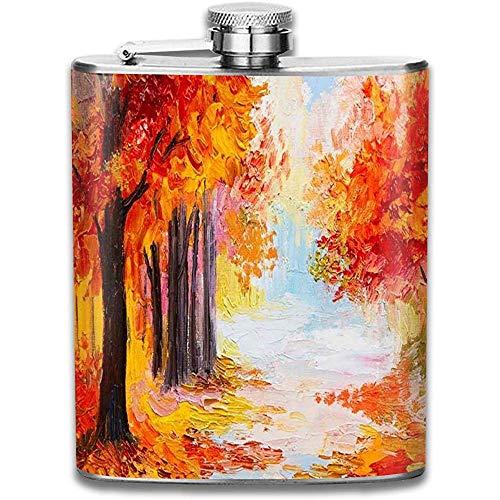 Kühle Öl handgemalte Herbst Ahorn Landschaft Retro tragbare Edelstahl auslaufsicher Alkohol Whisky Schnaps Wein Topf Flachmann