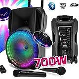 Enceinte sono DJ PARTY KARAOKE 700W portable Batterie 2 MICROS Disco Mobile 12 LED RGB USB/MICRO SD/Bluetooth/RADIO FM + OVNI