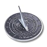 The Metal Foundry 10th Tin 2021 Wedding Recycled Solid Metal Anniversary Sundial Gift Idea is A Great Present for Him, Her, Parents, Grandparents Or Couple On 10 Years of Marriage