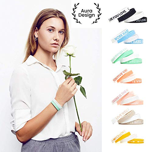 Aura Design Damen-Armband | Minzgrün | All Good Things Are wild and Free. | Silikonarmband | Sportarmband | Fitness-Armband | Armband für Damen | 4 Armbänder