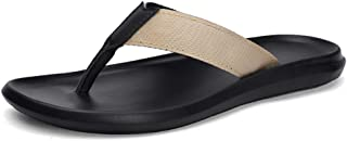 Ranipobo for Man Casual Flip-Flops Slip On Style Microfiber Leather Flexible Light Solid for Men (Color : Apricot, Size : 7.5 UK)