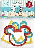 ALMACENESADAN, 0420, Pack 3 cortadores de galletas Disney Mickey Mouse; producto de plástico; libre bpa