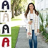 Monogrammed Plaid Scarf, Personalized Winter Scarf, Plaid Fringe Wrap, Blanket Scarf