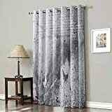 CyCoShower Blackout Curtain Room Darkening Window Curtain White and Gray Wall with Cracks and Bricks Grommet Thermal Insulated Room Curtain for Wall Decor Home Decor- 54x72Inch