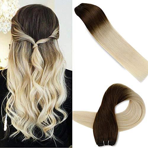LaaVoo 22 Zoll/55cm Dunkelbraun Ombre Platinblond Weave Hair Extensions Echthaar Weaving Glatt Haarverlangerung Tressen Weft Ein Bundle 100Gramm #4T60