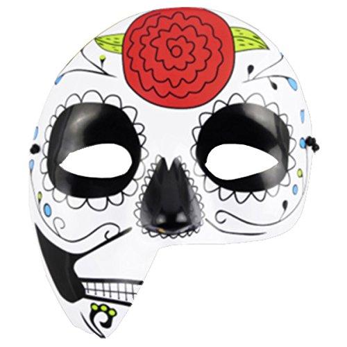 kaiser24 Mexikanische Totenmaske La Catrina Halbmaske Halloween Sugar Skull Tag der Toten Day of The Dead Dia de los Muertos Calavera (Halbmaske Blume (Plastik))