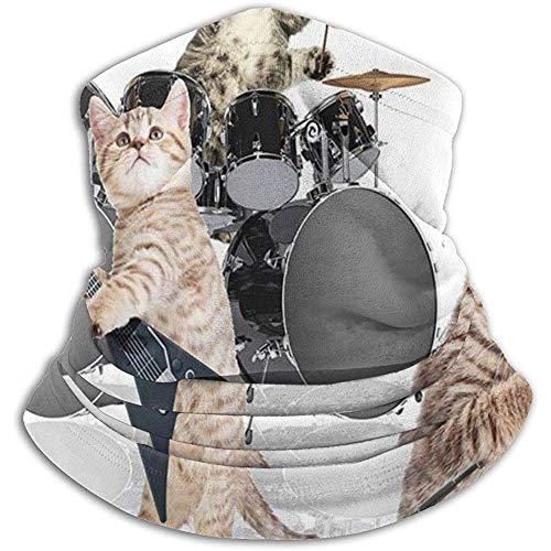 Rocker Band of Kittens, zanger, gitaar, katten, fleece, nekwarmer, nekbescherming, gezichtsmasker