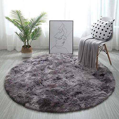 Pink Shaggy Tie-Dye Round Carpet Colorful Fluffy Alfombra Circles Coffee Table Blanket Bedroom Hanging Basket Yoga Rug