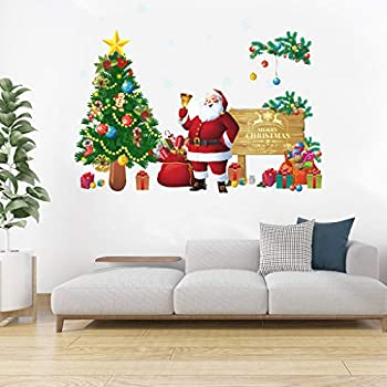 Christmas Windows Stickers Christams Wall Sticker Snowflakes Santa Claus Xmas Tree Wall Window Clings Door Mural Decals Sticker for Room Christmas Party Shop Window Showcase Winter Party Decorations