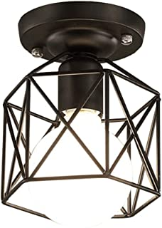 JJZXD Industrial Metal Cage Ceiling Light, Rustic Mini Semi Flush Mounted Pendant Lighting Dome/Shaped Lamp Fixture Farmho...