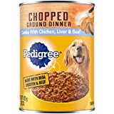 Pedigree Adult Canned Wet Dog Food Chopped Ground Dinner Combo with Chicken, Beef & Liver Flavor, 22 oz. Cans (Pack of 12)