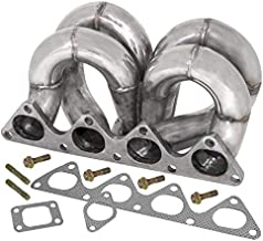 T3 Flanged Bottom Mount Ramhorn Style Upgrade Turbo Exhaust Manifold With 2 Bolt 38Mm Wastegate Flange For B-Series B16 B18 Dohc Engines