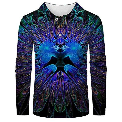 FANGDADAN Langarm-Poloshirt Für Herren,Farbmuster Polo Männer Shirt Mode 3D Gedruckt Langarm Hip Hop Streetwear Plus Größe Männer Kleidung 038, L