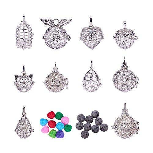 PandaHall Elite - 10 colgantes de latón con 10 cuentas y 10 pompones para joyas, collares, manualidades, accesorios de colgantes, collares, bisutería, platino.