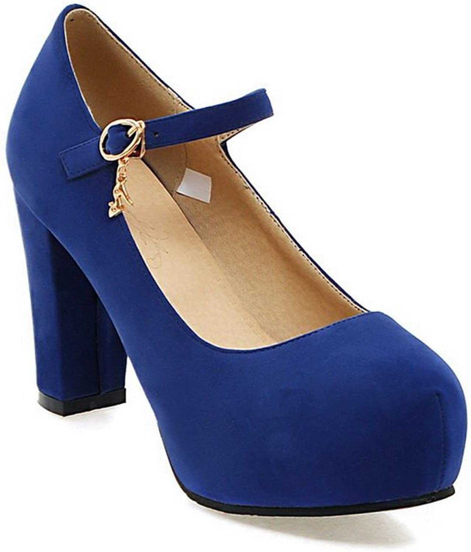 BalaMasa Ladies Buckle Chunky Heels Platform Suede Pumps shoes